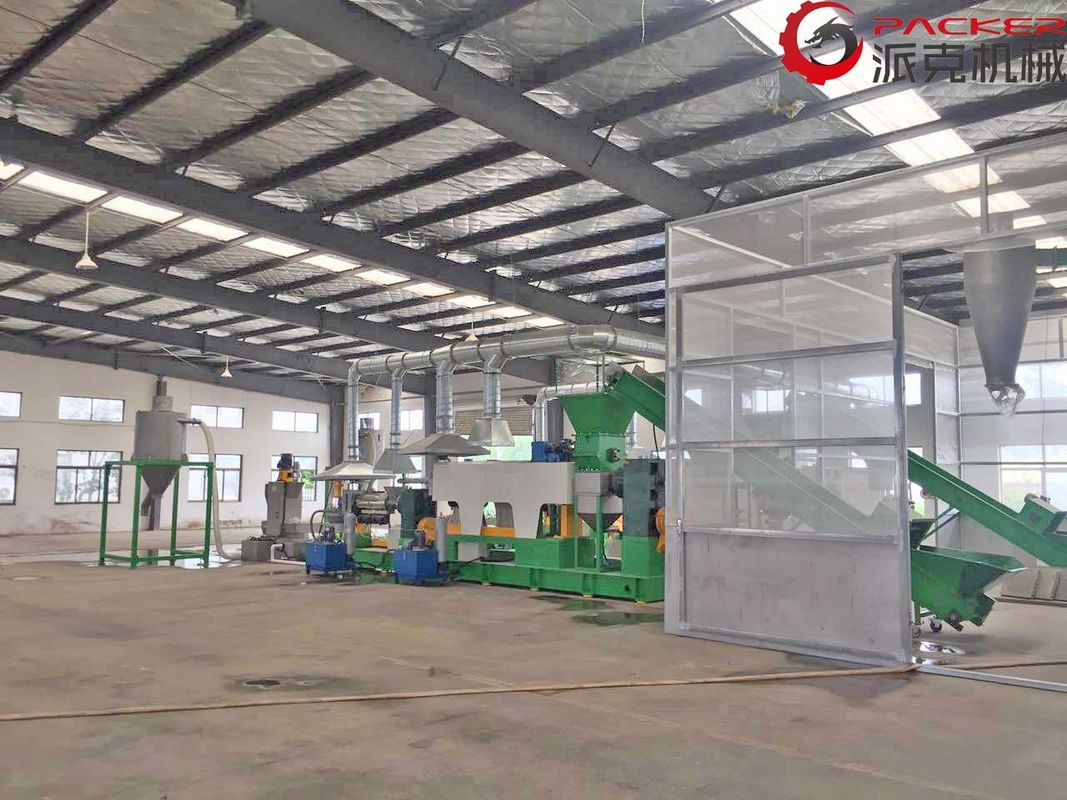 100-1000kg/H Plastic Granulating Line Low Power Consumption Single Double Stages